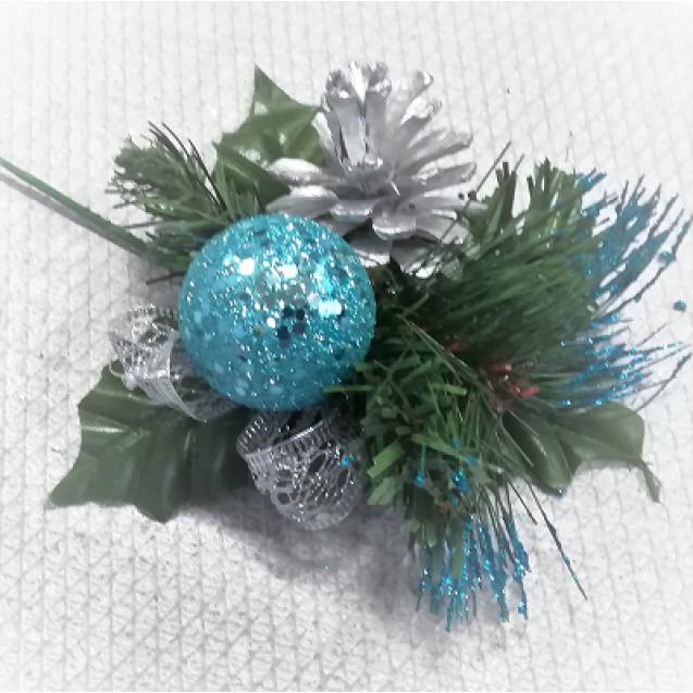 1511 Vianočná dekorácia Blue/Silver 12,5cm