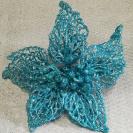 165705 Vianočný kvet brokát Blue 16cm